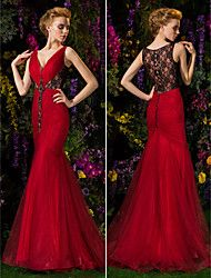 Trumpet/Mermaid V-neck Sweep/Brush Train Lace And Tulle Evening Dress (2092561)