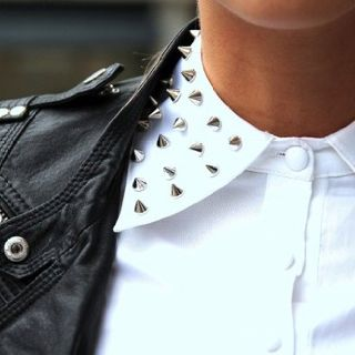 Although I've seen the studded-collar trend being worked all over the net, I've yet to see it be brought to life by any girls I know. To be honest, I'm nervous to be that girl...
