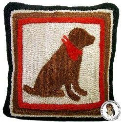 Chocolate Labrador Retriever Bandana Dog Hooked Wool Pillow By Chandler 4 Corners