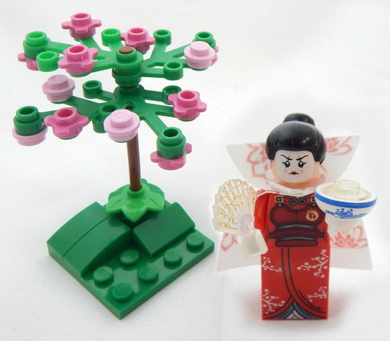 New Lego Geisha Minifig Lot With Cherry Blossom Tree Figure Minifigure Japanese Mini Figures Lego Geek Gifts
