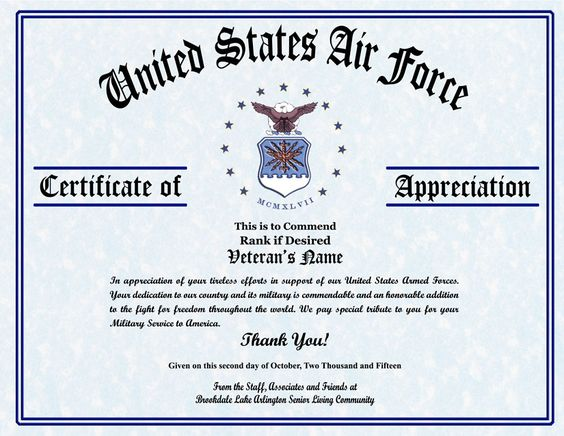 Military Veterans Appreciation Certificates Veterans day - army certificate of appreciation template