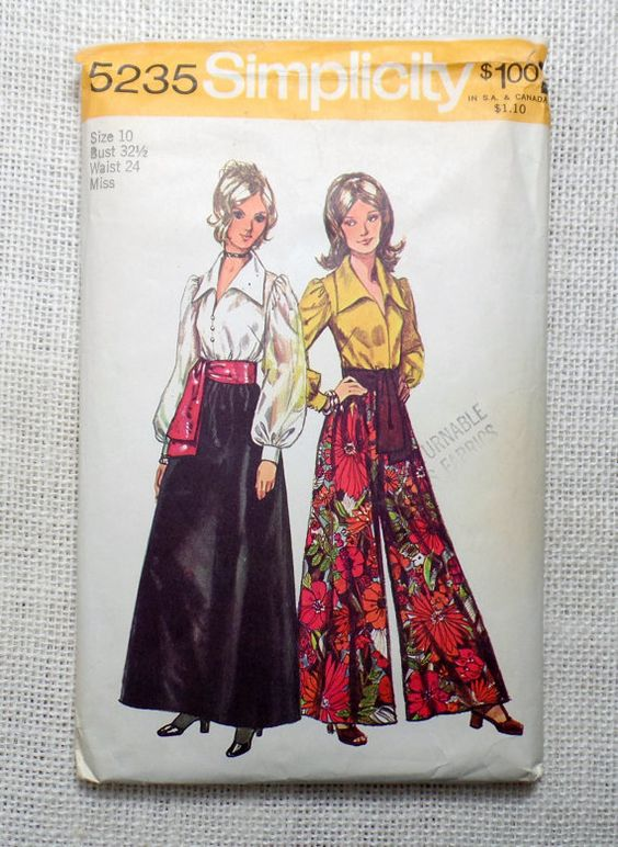 Simplicity 5235 1970s 1972 Palazzo pants Vintage Sewing Pattern Bell Bottom Palazzo Waist 24 Bust 32.5 Blouse Balloon sleeve Elephant bells