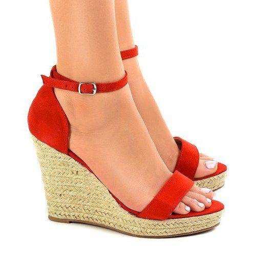 Czerwone Sandaly Na Koturnie Espadryle Bd342 Espadrilles Red Sandals Red Wedge Sandals