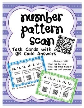 number pattern task cards with qr codes activities other and qr codes. Black Bedroom Furniture Sets. Home Design Ideas