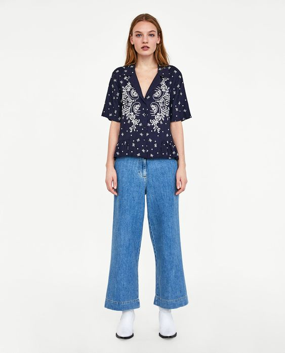 ZARA - WOMAN - SHIRT WITH CONTRASTING EMBROIDERY