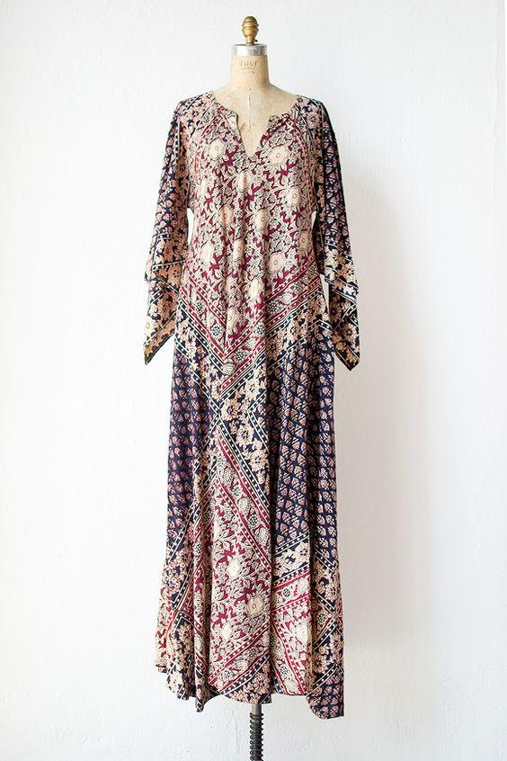vintage 1970s Indian cotton gauze boho dress  Woven Jaipur Dress ...