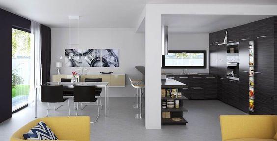 Vista interior cocina comedor y sala de estar chalilli for Sala de estar vista desde arriba