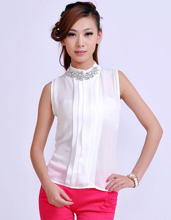 Blusa de cuello alto sin mangas - Buscar con Google | blusas cuello alto | Pinterest | Google y ...