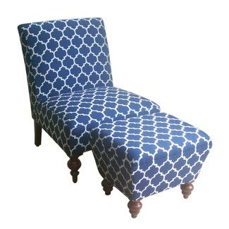 HomePop Slipper Accent Chair Ottoman Color Navy Make the