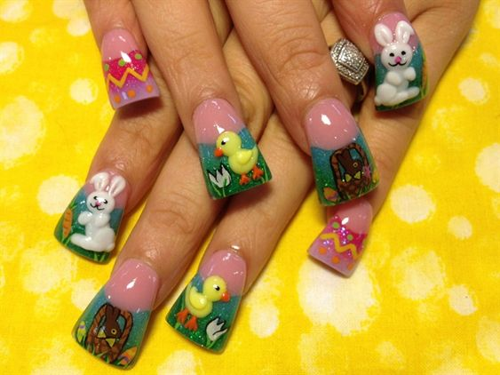 3 d easter by oli123 nail art gallery nailartgallery for 3d nail art salon new jersey