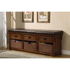 Bench/Mission Style Storage Ottoman with 3 Drawers and Baskets in Dark Brown Finish!