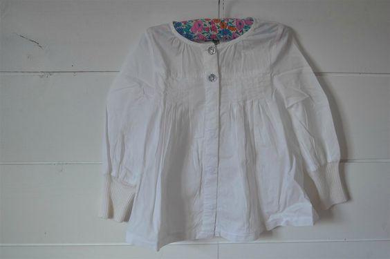 Chemise / blouse en coton blanc à plis religieuses et jolis boutons Mexx - 4 Ans