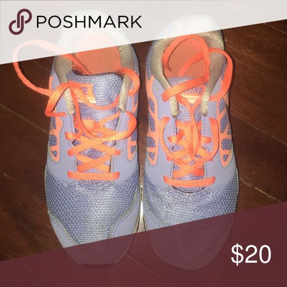 Girls sneakers Periwinkle blue with orange lace Nike running shoe Shoes Sneakers