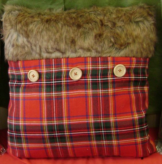 """Royal Stewart Plaid Pillow with Faux Fur; 15"""" x 15"""" with removable cover."""