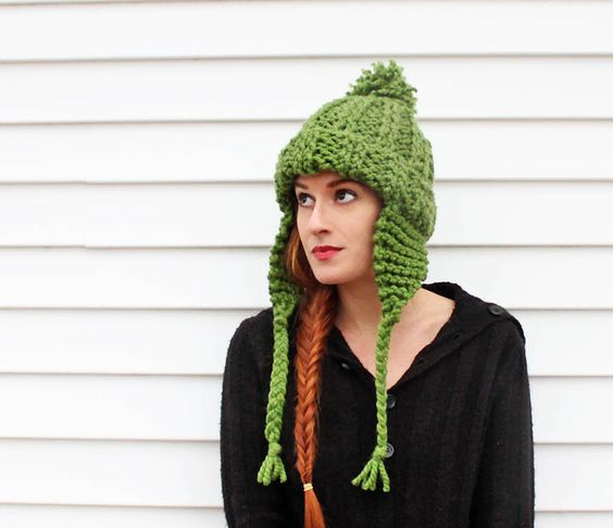 Earflap Hat Knitting Pattern Bulky Yarn : Yarns, Lion brand wool ease and Knits on Pinterest
