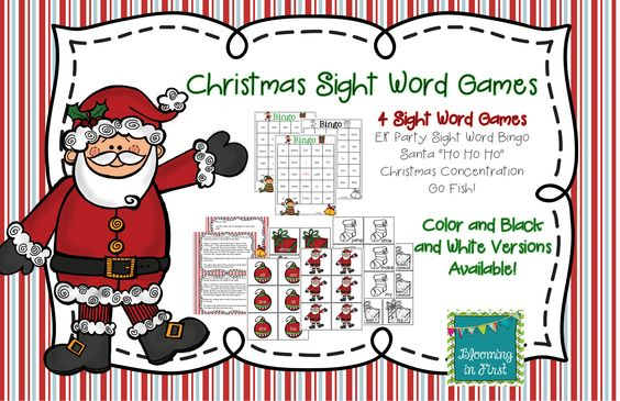 Christmas Sight Word Games Featuring the Dolch Words | Pinterest ...