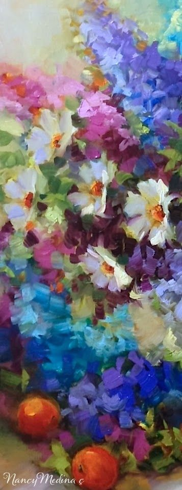 Detail from Abundance Delphiniums and Daisies by Nancy Medina, 20X20, flower painting oil on gallery wrap canvas www.nancymedina.com