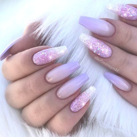 ombre purple coffin nail designs  lovely nails design