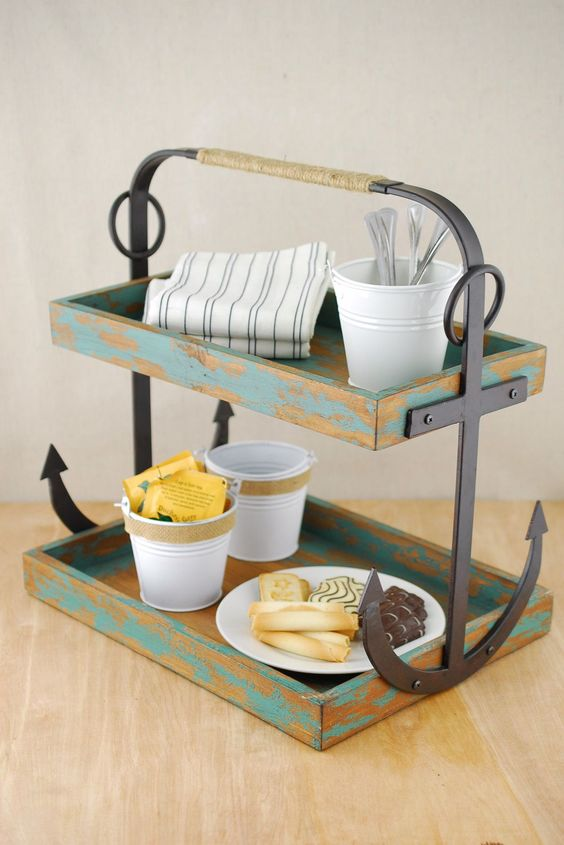 Anchor Caddy for tea service or as part of the buffet at a beach wedding.