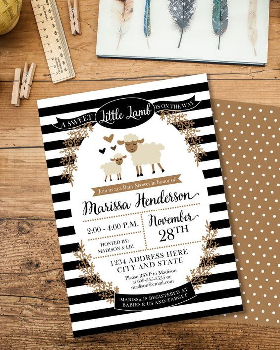 Little Lamb Baby Shower Invitation. This sweet invitation is perfect for a gender neutral baby shower. Features polka dots in a classic black, white