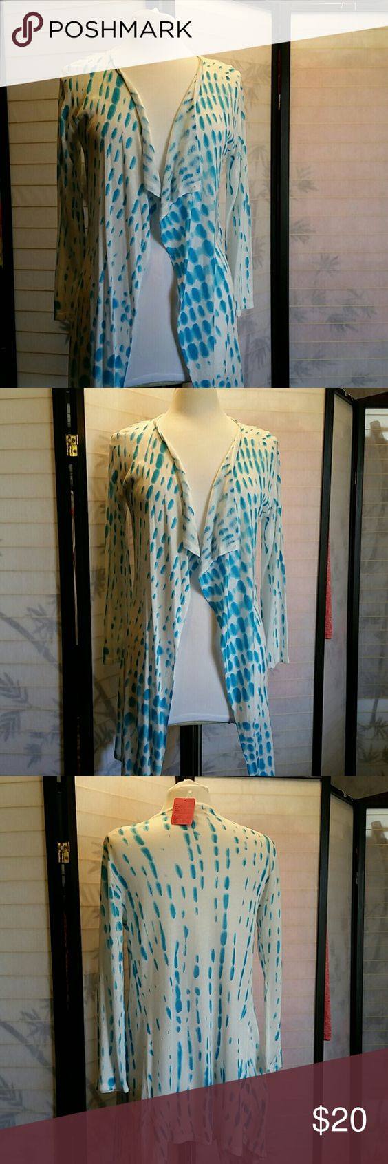 Blue and white sweater wrap Peck and peck wrap Size s Peck &Peck Sweaters Shrugs & Ponchos