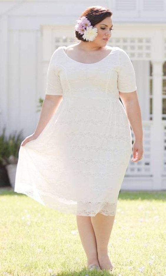 Tea length plus size wedding dresses wedding ideas for Plus size dress for wedding reception