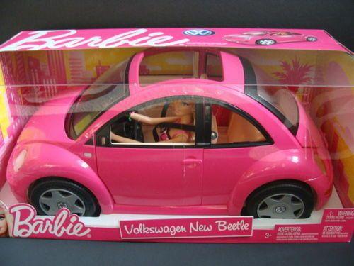 NEW BARBIE Volkswagen New Beetle VW Pink Bug Car Doll Set Mattel Playset NIB