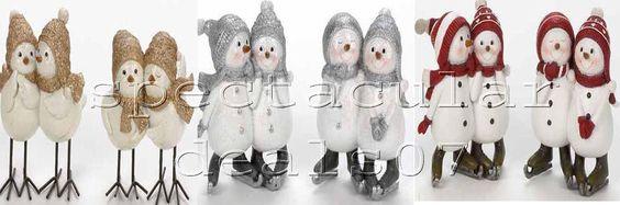 2 x Snowman Bird Window Fireplace Ornaments Figurines Christmas Xmas Decoration #unbranded