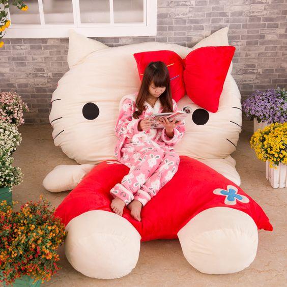 High Quality Soft Big Hello Kitty Stuffed Animal Bed Mat Cushion Cute <font><b>Kawaii</b></font> Japanese Anime Tatami Almofadas Decorativas Pad