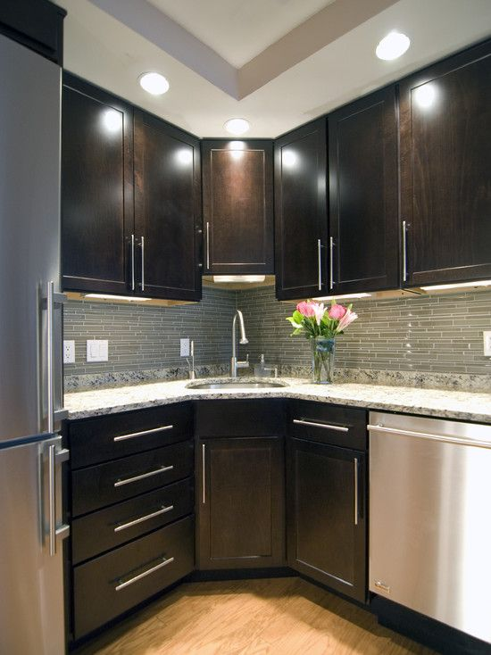 Corner sink small kitchen design pictures remodel decor for Small dark kitchen ideas