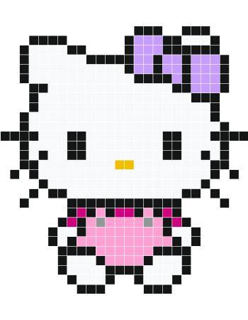 Pretty Pink Hello Kitty pixel art - Stickaz