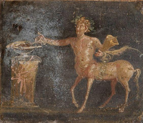 CENTAUR WITH SACRIFICE / ROMAN FRESCO. Roman, 1st century. Centaur with sacrifice. Fresco, 23 × 26 cm. From Pompeii. Inv. Nr. 9132. Naples, Soprintendenza Speciale per i Beni Archeologici di Napoli e Pompei.