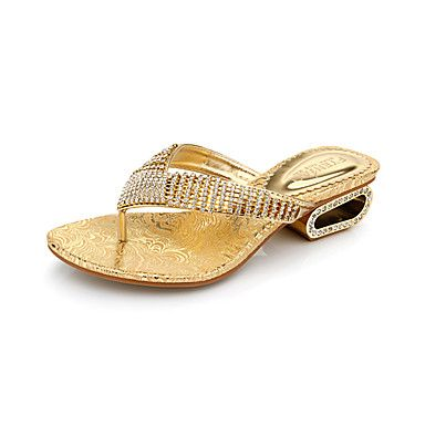 Comfortable Leatherette Chunky Heel Slippers with Rhinestone Casual Shoes(More Colors) – USD $ 99.99