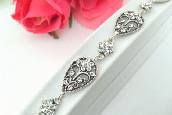 art deco crystal rhinestone adjustable bracelet wedding by xxyz, $30.00