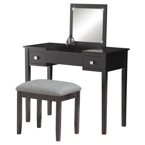 Linon Kayden Vanity Set Black Vanity Set Linon Vanity