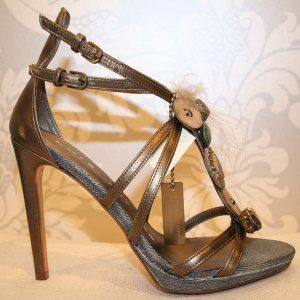 Luis Onofre  Bronze Sandal with Swarovski, feathers and denim accents