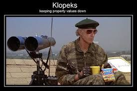 Lt. Mark Rumsfield (Bruce Dern).spying on the Klopek's from The 'Burbs (1989) also starring Tom Hanks, Corey Feldman and Carrie Fisher.