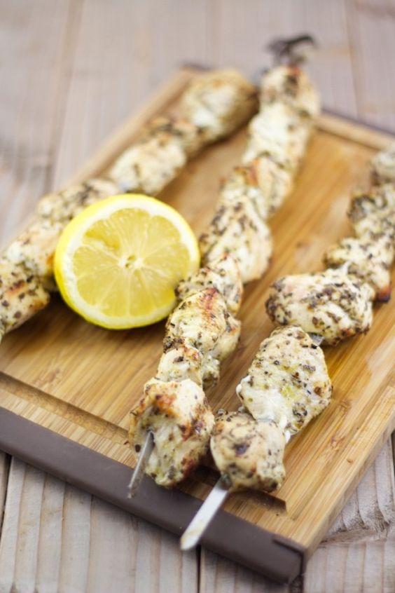 Souvlaki Recipe   Greek Chicken Skewer Recipe   Lemon & Olives