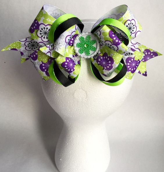 "8"" Beautiful Purple/Lime/Black Hair Bow"