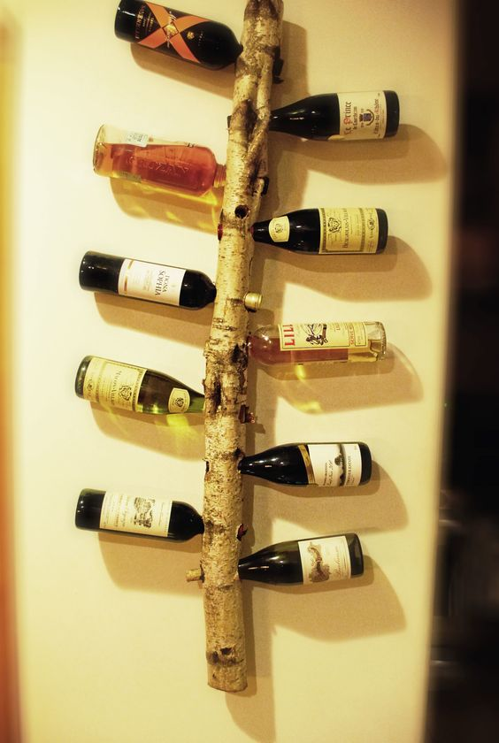 Here is a wine rack I made out of a birch tree branch.: