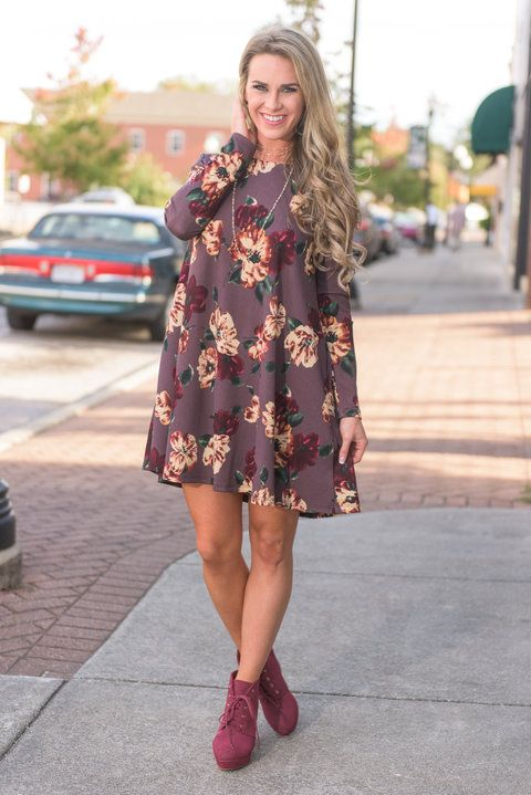 """Begging For You Dress, Plum"" You are going to be begging for this dress once you have seen this beauty! It's the perfect fall floral dress! The colors are rich and deep and the cut couldn't be more comfy! #newarrivals #shopthemint"