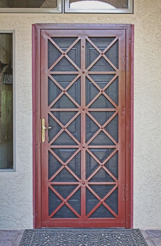 Pin By Homeberg Design Ideas On Security Security Door Wrought Iron Security Doors Grill Door Design