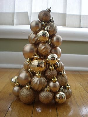 Christmas ornament tree. Would be cute to do mini ones for the Christmas table!