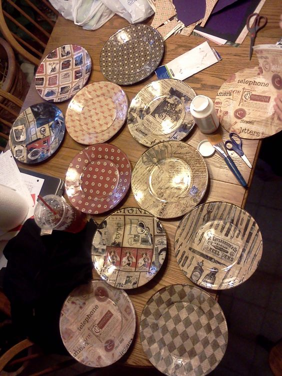 Design your own plates! - modge podge, scrapbook paper, book pages, etc. and $1 plates from Wal-mart