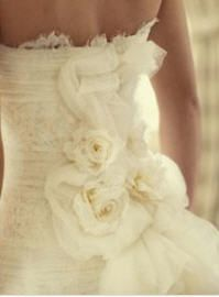 Thinking...use my wedding dress to turn into fabric flowers for daughters wedding dress....