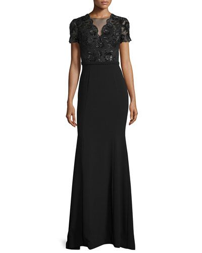 Theia Short-Sleeve Beaded-Bodice Gown, Black