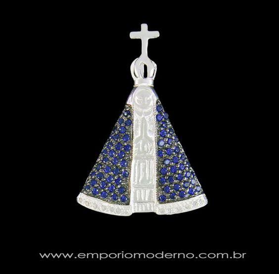 pingente, padroeira, brasil, nossa senhora, de, da, aparecida, prata, manto, cristal, zirconia, azul, branca