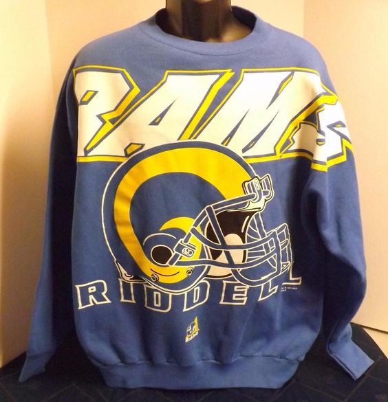 Vintage Riddell 1997 Los Angeles Rams Blue NOS Blue Sweatshirt XL Made in USA #Riddell #LosAngelesRams