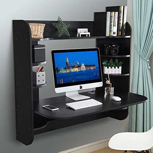 New Binrrio Wall Mounted Computer Desk Storage Tray Floating Desk Wood Compact Home Office Desk Laptop Pc Table Writing Study Table Workstation Storage Dra In 2020 Floating Desk Large Computer Desk Wall