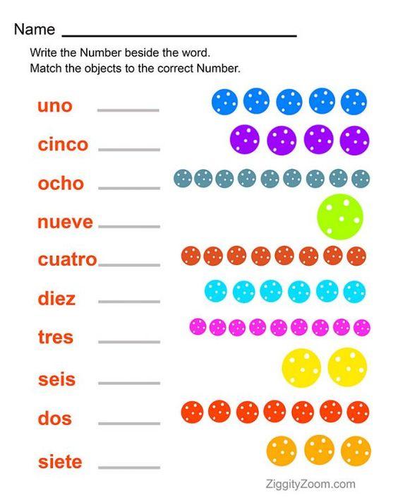 Spanish Numbers Printable Worksheet | Ziggity Zoom